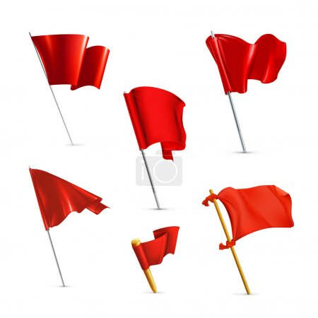 Red flags, vector icon set