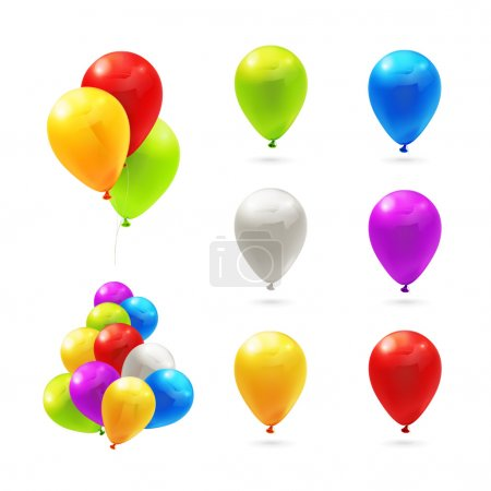 Illustration for Toy balloons, set of vector icons - Royalty Free Image