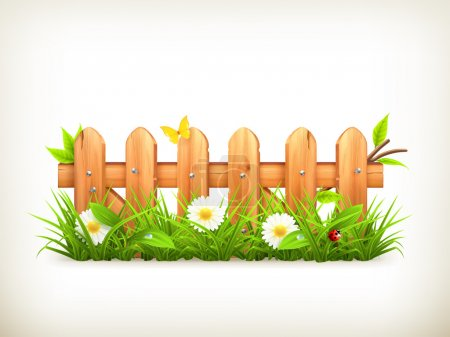 Illustration for Spring grass and wooden fence vector - Royalty Free Image