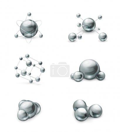 Molecule icon vector set