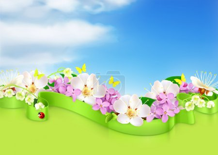 Illustration for Spring flowers and clouds, vector background - Royalty Free Image