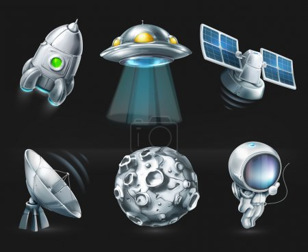Illustration for Space, vector icon set on black - Royalty Free Image