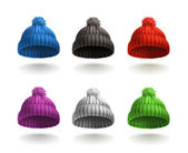 Knitted cap vector icon set