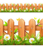 Grass and wooden fence seamless border vector illustration