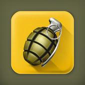Hand grenade long shadow vector icon