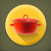 Red saucepan long shadow vector icon