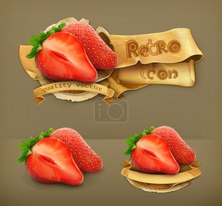 Strawberry, retro vector icon