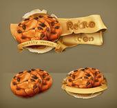čokoládové cookies, retro vektorové ikony