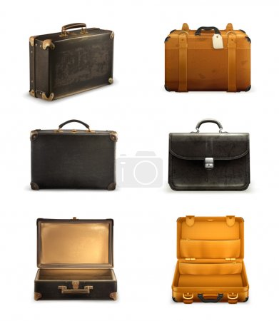 Old suitcase vector set...