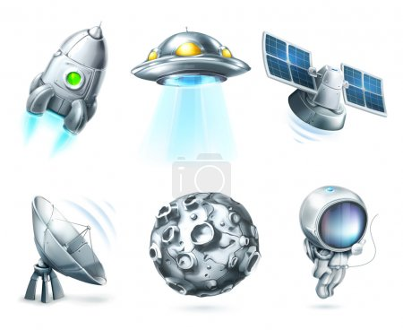Space, vector icon set on white...