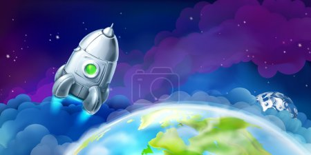 Illustration for Space, vector background for website - Royalty Free Image