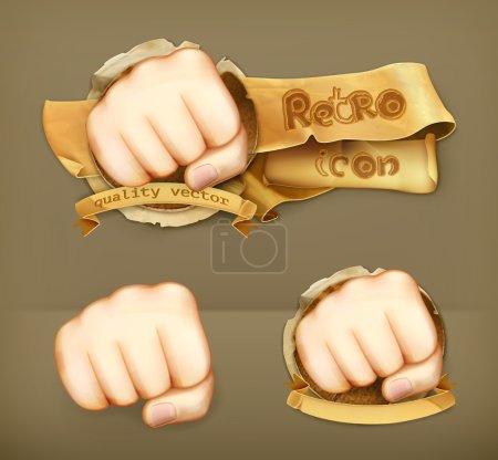 Fist, retro vector icon