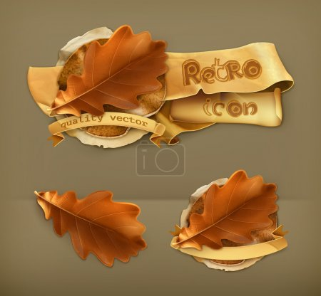 Oak leaf, retro vector icon