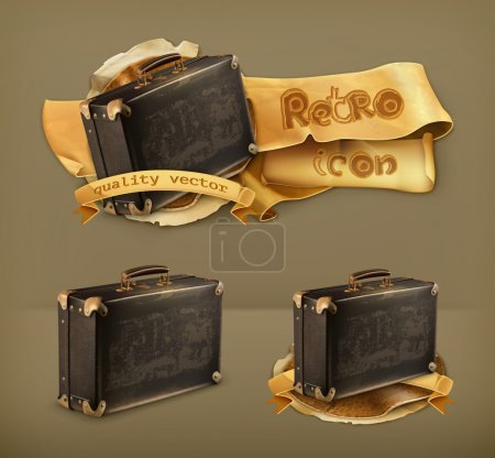 Illustration for Old suitcase, retro vector icon - Royalty Free Image