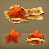Maple leaf retro vector icon
