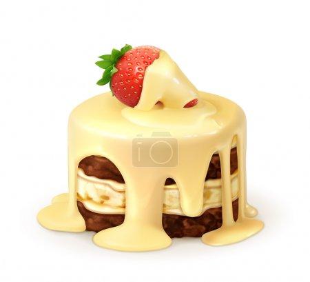 Illustration pour Gâteau à la fraise au chocolat blanc, vecteur détaillé - image libre de droit