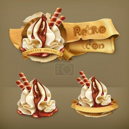 Sweet dessert with chocolate, retro vector icon