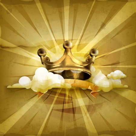 Gold crown, old style vector background...