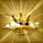 Gold crown old style vector background