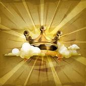 """Постер, картина, фотообои """"Золотая Корона, старый стиль фона вектор"""""""