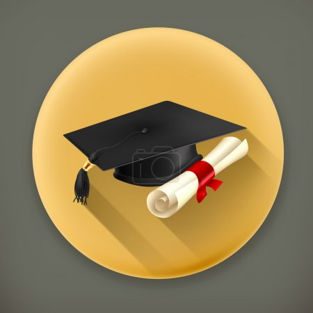 Illustration for Graduation cap and diploma long shadow vector icon - Royalty Free Image
