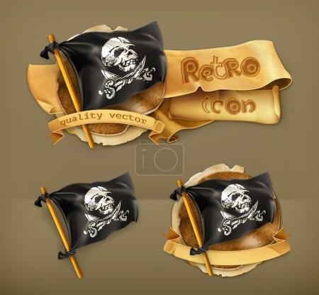 Jolly Roger, retro vector icon...