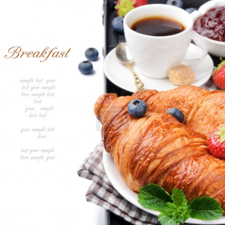 Photo for Breakfast with coffee and fresh croissants over white - Royalty Free Image
