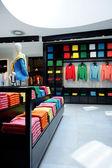 Colorful clothes shop interior
