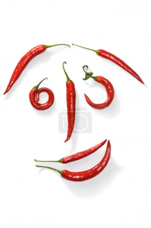 Funny face from chili peppers