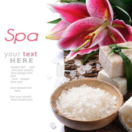Photo pour Cadre de spa avec fleur de Lys - image libre de droit