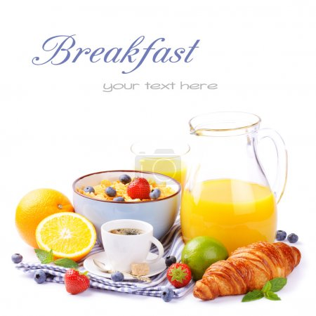 Photo for Fresh healthy breakfast with copyspace isolated over white - Royalty Free Image