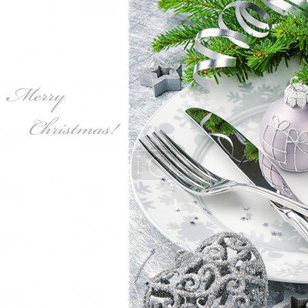 Photo pour Concept de menu de Noël en ton argent isolé sur blanc - image libre de droit