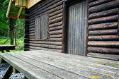 table en bois pour pique-nique à côté du chalet de la forêt