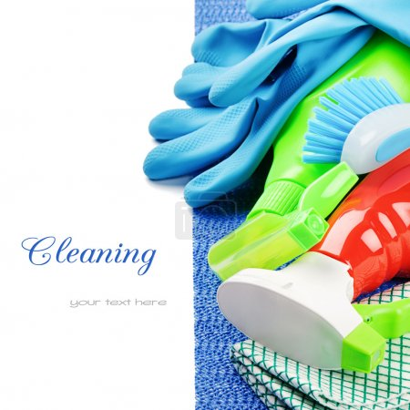 Photo for Colorful cleaning products isolated over white - Royalty Free Image