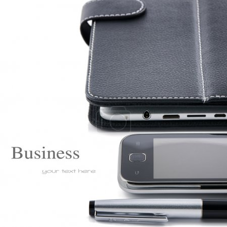 Photo for Business concept. Mobile phone, tablet pc and pen isolated over white - Royalty Free Image