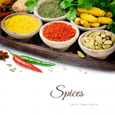 Photo for Colorful mix of spices isolated over white - Royalty Free Image