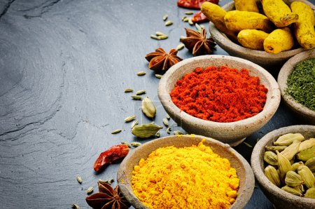 Photo for Colorful mix of spices on stone background - Royalty Free Image