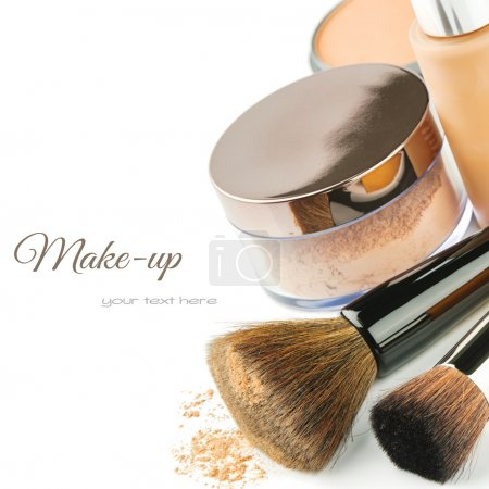 Photo for Basic make-up products. Foundation and powder - Royalty Free Image