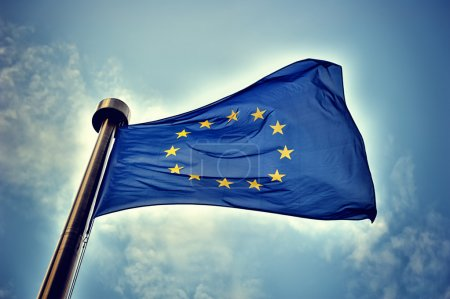 Photo for European Union flag on blue sky background - Royalty Free Image