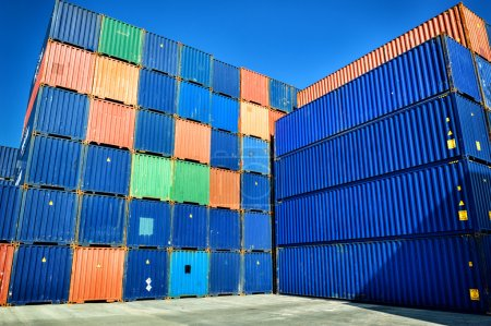 Stacked cargo containers