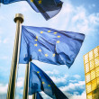 Waving EU flags in front of European Commission in...