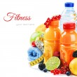 Healthy lifestyle concept. Fresh fruits and juices...