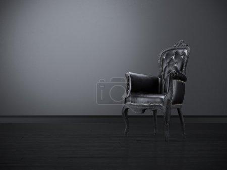 Photo pour Chaise noire vintage dans la chambre noire - image libre de droit