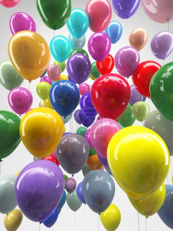 Colourful ballons flying on white