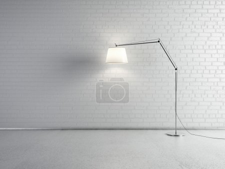 Photo for Lamp front of a white brick wall - Royalty Free Image
