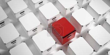 Photo pour Boîtes blanches et boîte rouge ouverte unique - image libre de droit