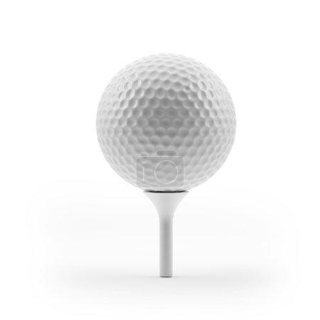 Photo pour Balle de golf blanche isolée sur fond blanc - image libre de droit