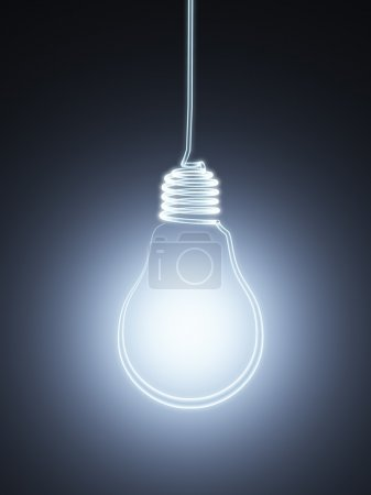 3d hanging bulb silhouette
