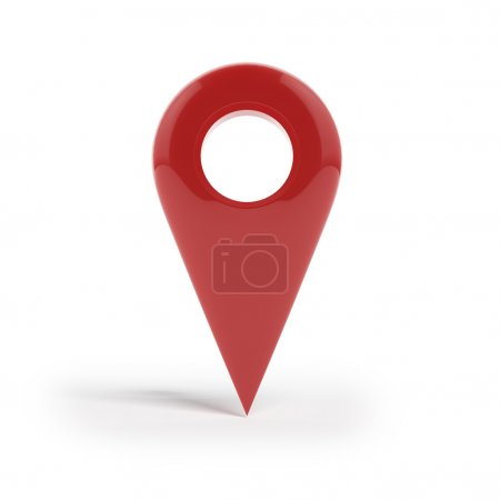 Shiny gloss red Map pointer icon.