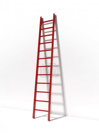 Photo for Red ladder near white wall isolated on white background - Royalty Free Image